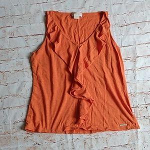 MICHAEL Michael Kors Orange Ruffle Tank Top XL